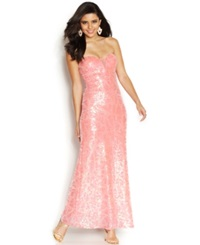 As U Wish Juniors' Sequin Strapless Dress Coral