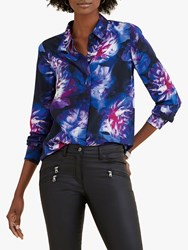 Pure Collection Washed Silk Relaxed Blouse Blue Digital Floral