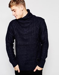 Brave Soul Cable Knit Jumper With Roll Neck Navy