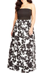 Plus Size Women's City Chic 'Painted Poppy' Strapless Maxi Dress