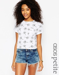 Asos Petite Cropped T Shirt With Pocket And Dandelion Print Multi