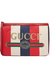 Gucci Printed Canvas And Leather Pouch Red