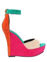 Balmain 140Mm Color Blocked Suede Wedges