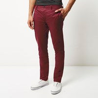 River Island Mens Red Skinny Chino Trousers