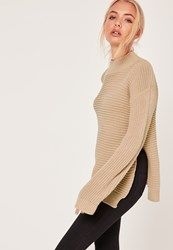 Missguided Funnel Neck Rib Stitch Jumper Camel
