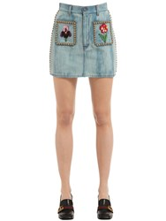 Gucci Studded And Embroidered Cotton Denim Skirt