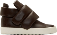 Giuseppe Zanotti Brown Leather Padded London Lounge Sneakers