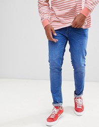 Solid Stretch Slim Jeans In Mid Wash Blue