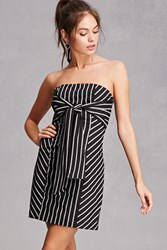 Forever 21 Strapless Pinstripe Mini Dress Black