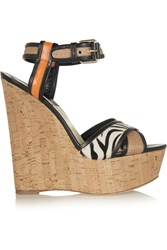 Brian Atwood Isotta Leather Raffia And Calf Hair Wedge Sandals Animal Print