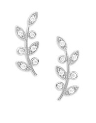 Tai Stone Accented Sterling Silver Leaf Stud Earrings