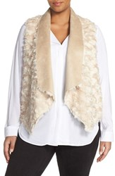 Plus Size Women's Tart 'Sheri' Drape Front Faux Fur Vest Light Taupe