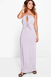 Boohoo Strappy Keyhole Maxi Dress Grey
