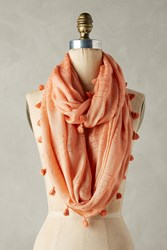 Anthropologie Tasseled Infinity Scarf Peach