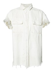 R 13 R13 Frayed Denim Shirt White