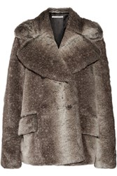 Alessandra Rich Faux Fur Jacket Brown