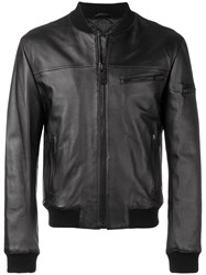 Les Hommes Slim Fit Bomber Jacket Black