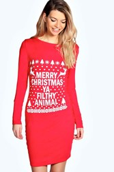 Boohoo Filthy Animal Christmas Bodycon Dress Red