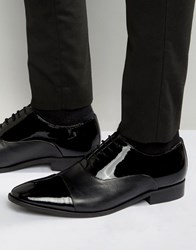 Dune Toe Cap Oxford Shoes In Patent Leather Black