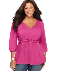 Ny Collection Plus Size Three Quarter Sleeve Ruched Empire Waist Top Bright Rose