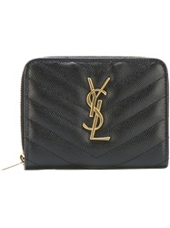 Saint Laurent Small 'Monogram' Wallet Black