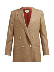 Gucci Micro Houndstooth Double Breasted Wool Blazer Brown Multi