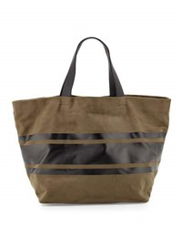 Neiman Marcus Faux Suede Striped Panel Tote Bag Olive Blk
