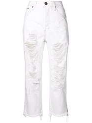 One Teaspoon Ripped Bootcut Cropped Jeans White