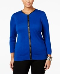 August Silk Plus Size Faux Leather Trim Cardigan Cobalt
