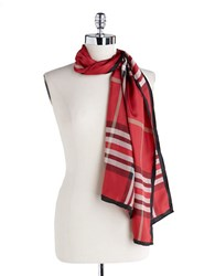 Lord And Taylor Silk Fashion Scarf Red