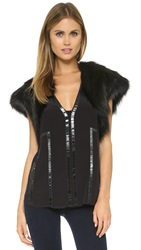 Ramy Brook Fiona Fur Shrug Black