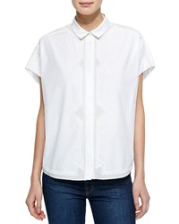 O'2nd Eco Oversized Top W Embroidered Front White