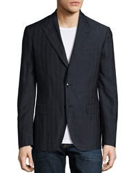 Versace Two Button Pinstripe Blazer Navy