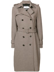 Closed Houndstooth Trench Coat Nude And Neutrals