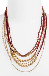 Serefina Women's Mixed Media Statement Necklace Red