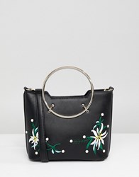 Park Lane Embroidered Floral Across Body Bag With Hardware Handle Black Floral