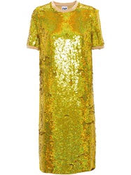 Filles A Papa Long Sequinned Dress Yellow And Orange