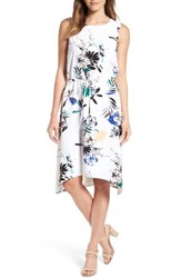 Halogenr Women's Halogen Stretch Knit Midi Dress White Green Paradise Floral