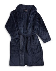 Black Brown Belted Robe Navy