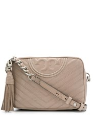 Tory Burch Fleming Chevron Camera Bag Neutrals