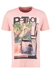Petrol Industries Print Tshirt Shocking Organge Mottled Light Red
