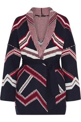 Maje Reversible Jacquard Knit Cardigan Navy