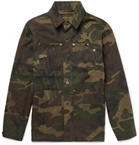 Freemans Sporting Club Camouflage Print Coated Cotton Jacket Green