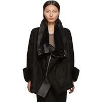Rick Owens Black Shearling Explorer Jacket