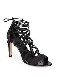 Elie Tahari Hurricane Leather And Denim Lace Up Cage Pumps Black