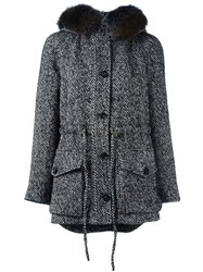 Blumarine Raccoon Fur Trim Hooded Coat Black