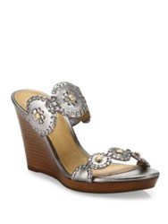Jack Rogers Jr Layne Whipstitch Metallic Leather Wedge Sandals Pewter