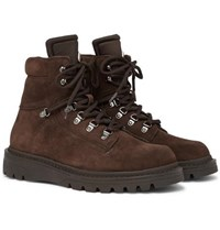 Moncler Egide Shearling Lined Suede And Nylon Hiking Boots Brown