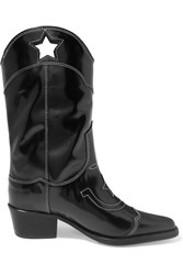 Ganni Marlyn Embroidered Patent Leather Cutout Boots Black