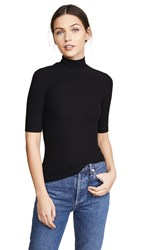 Getting Back To Square One Mock Neck Elbow Sleeve Tee Black